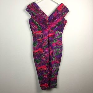 Tadashi Shoji Dresses - Tadashi Shoji silk floral pleat V-neck midi dress